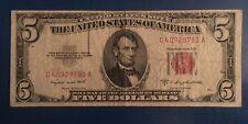 1953 B Series $5 Five Dollar Bill Red Seal Legal Tender Note Circulated