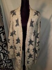 American Eagle Outfitters Women XL silver blue white Knit Sweater jacket