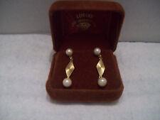 Vintage 18K Yellow Gold Pearl Dangle Earrings w/ Screwback Posts