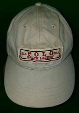 NICE Ralph Lauren POLO Jeans Leather Strap Hat Tan Red Est 1967 Classic RARE Cap