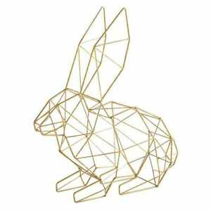 Pier 1 Geometric Gold Metal Easter 3D Bunny / Egg Decor NWT