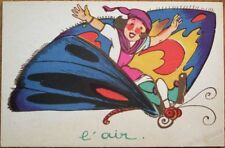 Moth/Butterfly 1920 Color Litho Art Deco Postcard - Woman Flying