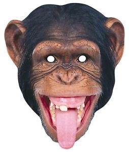 Chimpanzee Animal 2D Single Card Party Mask - World Book Day Wildlife Monkey