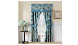 """Moonlit Shadows Curtain Panel Blue with Tie Backs 84""""x50"""" Set of 2 - Waverly New"""
