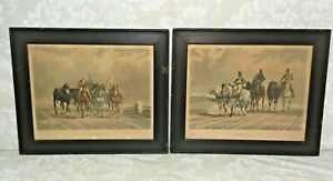 English Post Boys & French Postilions Etchings Framed London 1834 Ackermann & Co