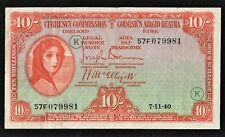 IRELAND 1940 WAR CODE (K) 10/ SHILLING  LADY LAVERY BANKNOTE