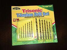 New Trisonic 13 Pieces Titanium Drill Bit Set