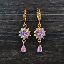 18K Yellow Gold Plated Women Lovely Pink Zircon CZ Sunflower Earrings Jewelry