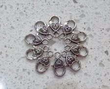 10 ANTIQUE SILVER PLATED HEART SHAPE LOBSTER CLAW CLASPS FINDINGS 25mm x13mm