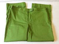 Ann Taylor Women's Size 4 flat front bright lime green capris crop pants 28x22.5