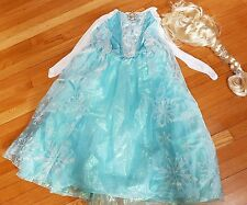 Disney Store FROZEN Elsa Musical Singing Costume Dress worn 1x with wig Size9-10