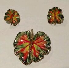 Beautiful Vintage Enamel Leaf Brooch Clip Earrings Set