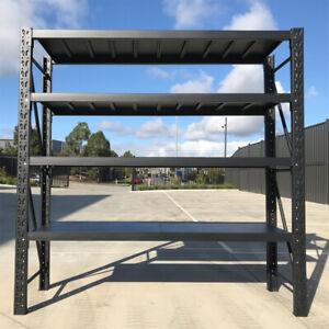 New 2M Matte Black 800kg Workshop Racking Storage Shelving Garage Shelves Racks