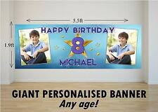 Personalised GIANT Large Happy Birthday Banner Boys Gold Stars N63