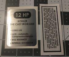 Kohler Engine 12-HP Wheel Horse,Woods, K301 black and silver decal set 2