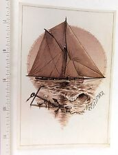 Fred W Baker Rochester, NY Lovely Nautical Scene Mayflower Anchor Rope Shore F50