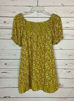 Easel Anthropologie Women's S Small Green Floral Short Sleeve Spring Top Blouse