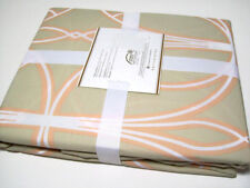 Pottery Barn Organic Cotton Light Brown Full Queen Aubrey Duvet Cover 2 Shams