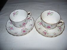 Lot of 2 Vtg Crown Staffordshire Bone China England Cup & Saucer Floral Print