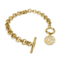 Personalized Gold or Sterling Silver Toggle Custom Monogram Bracelet For Her
