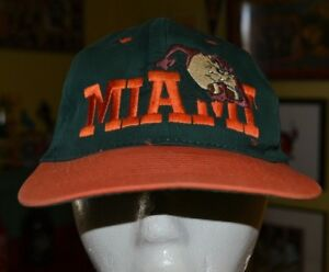 Vintage OG 90s Miami Hurricanes Looney Tunes Taz Snapback Hat Cap Youth Kids
