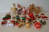 Vintage Christmas Tree Ornament Lot Japan Hong Kong Santa Reindeer Teddy Elves
