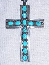VERDY JAKE STERLING SILVER & TURQUOISE CROSS WITH STERLING CHAIN SIGNED