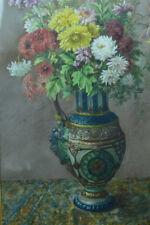 GRAND BEAU TABLEAU ancien Gouache  bouquet de fleur dahlias  Grand vase tapis