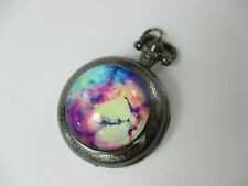 Flower Pocket Watch Pendant with Pewter-colored Case *working*