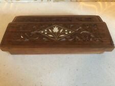 Beautiful Vintage Carved Inlaid Pen Box