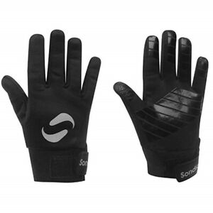 Boys Football Gloves Field Player Thermal Grip Sondico Black Kids 7 to 14 Years