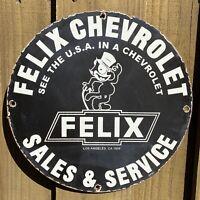 VINTAGE 1958 FELIX CHEVROLET PORCELAIN SIGN LA CAT OIL GAS CHEVY CAR TRUCK SALES