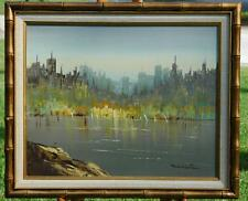 Original Oil on Canvas of A Skyline Cityscape From Across Water View by Winston