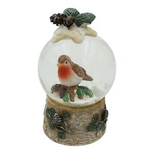 Christmas Robin Festive Snowglobe Waterball Decoration