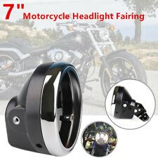 "7"" Motorcycle Bike Headlight Fairing Retro Racer Light Cover Lamp Mounting Stent"