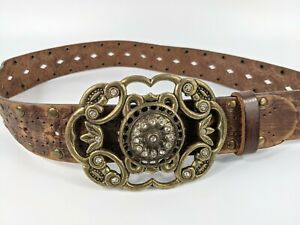 River Island Brown Jewelled Brass Leather Belt Small W26-32 Inches