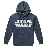 Star Wars Official Clothing - Rebel Logo & Text - Mens Hoodie - Navy Melange
