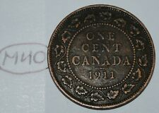 Canada 1911 1 Large cent Canadian one George V Penny coin Lot #M40
