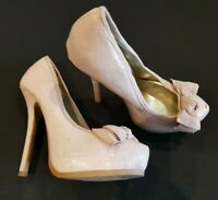 New Look size 3 (36) pale pink faux patent leather platform stiletto heel court