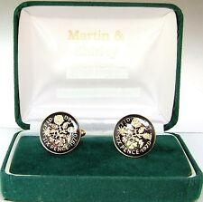 1970 6D cufflinks from SCARCE coins Black & Gold