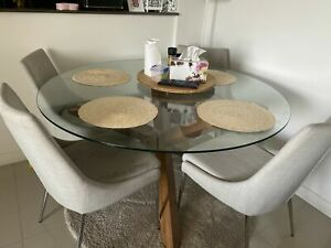 Round Glass Top Dining table