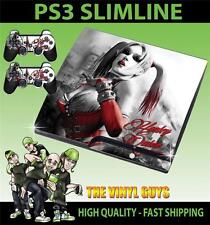 Playstation PS3 SLIM AUTOCOLLANT Harley Quinn arkham batman peau & 2 pad skins
