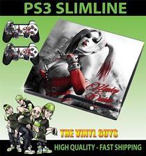 PLAYSTATION PS3 SLIM STICKER HARLEY QUINN ARKHAM BATMAN SKIN & 2 PAD SKINS