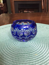 Cobalt Blue Bohemian Crystal  Cut to Clear Votive Tea Candle Holder