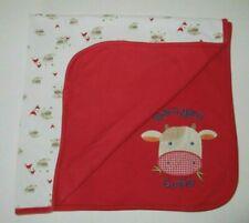 Gymboree Barnyard Cutie Cow Red White Baby Blanket  2006 Reversible Farm Friends