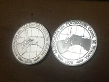 Panama 1978 10 Balboa Silver Proof & BU Coin Set-Ratify Panama Canal Treaty