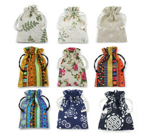 Cotton Linen Gift Bags Drawstring Jewellery Pouches Eco-friendly Wholesale