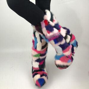 Color Block Mink Fur High-heel Side Zipper Inner Heightening High Tube Fur Shoes