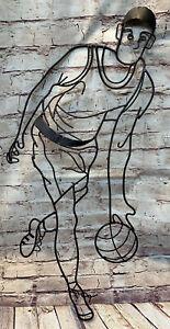 "Basketball Player Iron Decorative Metal Wall Art Sculpture Sport Athlete 24""x14"""
