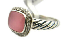 David Yurman 10x8mm Noblesse Ring Rose Quartz/MOP Doublet Diamonds Size 6 NWT